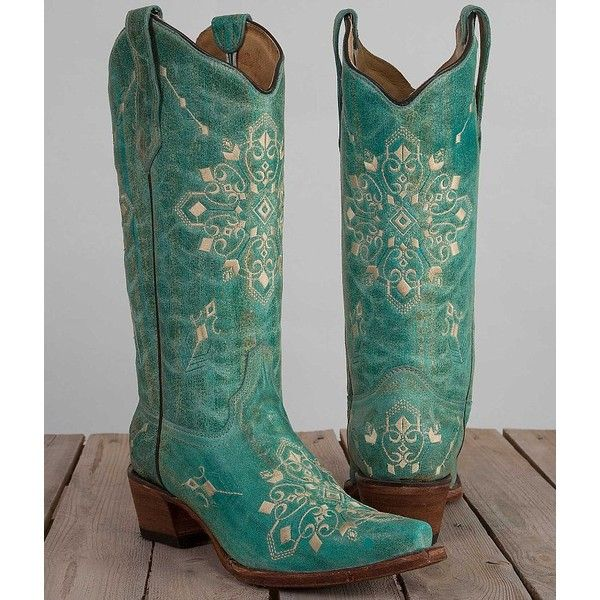 Circle G Embroidered Cowboy Boot (10.945 RUB) ❤ liked on Polyvore featuring shoes, boots, turquoise, tall cowboy boots, leather upper boots, cowboy boots, tall western boots and cowboy style boots