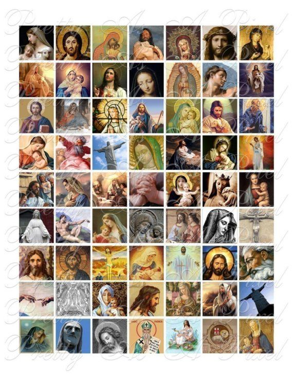 Religious Images - 3 sizes - Inchies, 7-8 inch, AND scrabble tile size .75 x .83 inch - Digital Collage Sheet - INSTANT DOWNLOAD