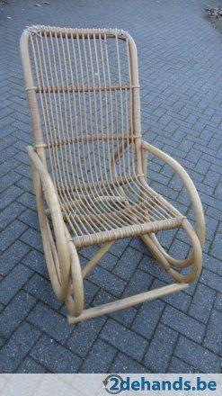 Bamboe en rotan vintage schommelstoel