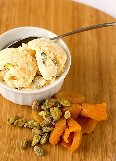 Dried Apricot and Pistachio Ice Cream http://www.browneyedbaker.com/2011/06/24/dried-apricot-pistachio-ice-cream/