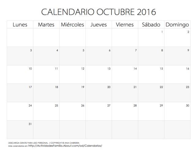 Calendarios 2016 para imprimir. Descarga gratis o imprime directamente desde nuestra web. Estos calendarios mensuales del 2016 te ayudarán a organizar tu mes.: Calendario Octubre 2016