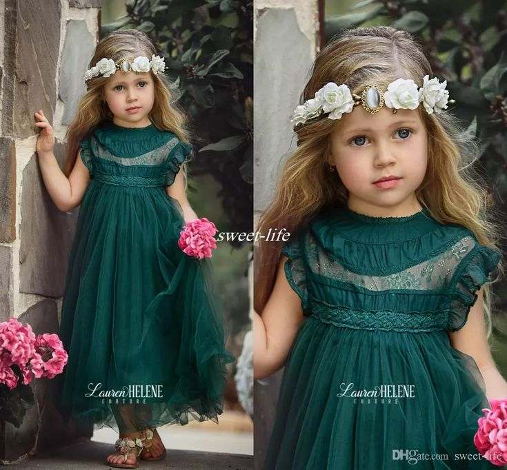 Dark Green Tea Length Flower Girls Dresses for Boho Vintage Wedding Sheer Neck Cap Sleeve Tulle 2017 Custom Baby Child First Communion Dress Flower Girl Dresses Cheap First Communion Dresses Online with $72.0/Piece on Sweet-life's Store | DHgate.com