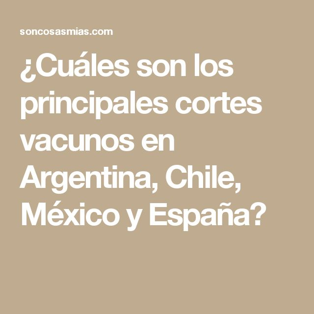 ¿Cuáles son los principales cortes vacunos en Argentina, Chile, México y España?