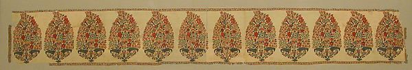 """Panel from a Shawl Date: first half of 18th century Geography: Attributed to India, Kashmir Medium: Pashmina wool; double interlocking twill tapestry weave """"Through the eighteenth century, the ever popular flowering plants of the Shah Jahan period transformed into pinecone-shaped clusters of buds emanating from roots of stylized leaves. Here, the motif, called a bota, lines the edge panel of a shawl.""""-The Met"""
