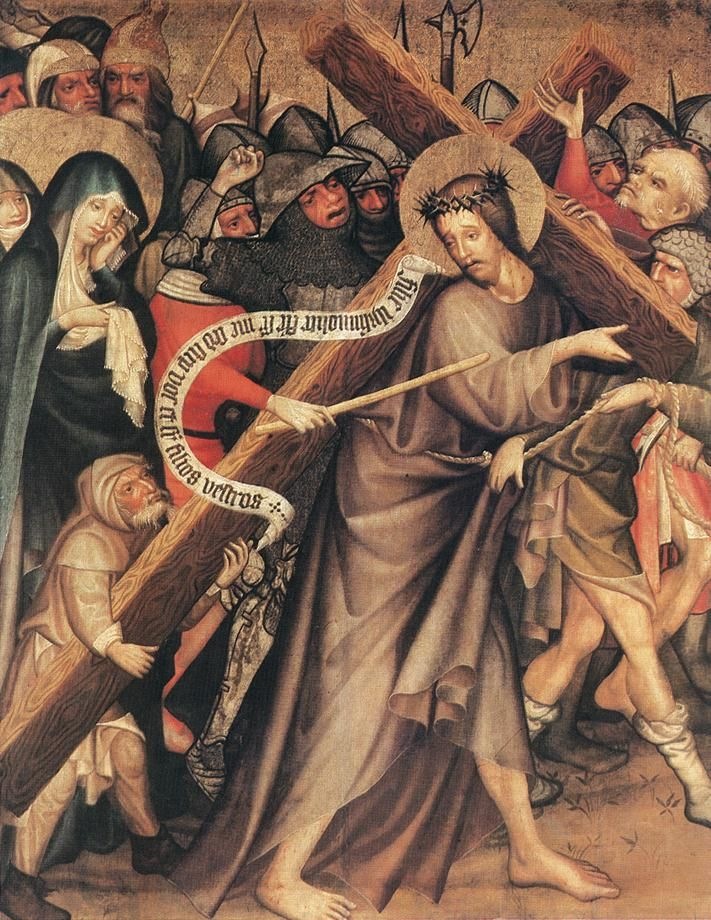 "Christ Carrying the Cross // 1427 // Master Thomas De Coloswar // Christian Museum, Esztergom // On the inscribed scroll: 'Filiæ Jerusalem, nolite flere super me, sed super vos ipsas flete et super filios vestros.' **** ""Daughters of Jerusalem, do not weep for me; weep instead for yourselves and for your children."" (Luke 23:28) // The end of the cross is supported by Simon of Cyrene, depicted on a smaller scale // #Jesus"