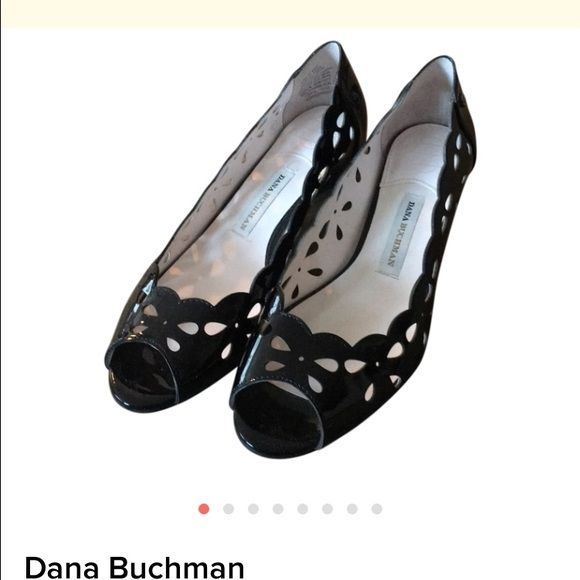 Dana Buchman black patent shoes Dana buchman black patent leather  logan pump. Only worn once. Peep toe with cutouts.   Bundle items from my closet and save!!!  Dana Buchman Shoes Flats & Loafers