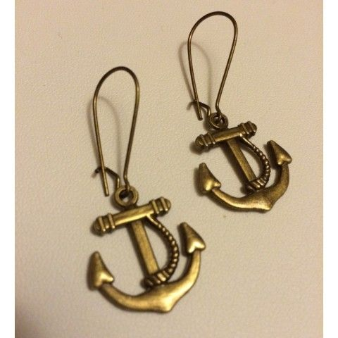 Anchor Charm on Kidney Earwire Earrings, Bridesmaids gifts Nautical Jewelry, Anchor Jewelry, Nautical Wedding, Nautical Gifts,