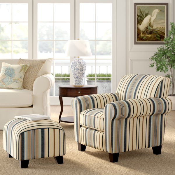 Aine Armchair And Ottoman Living Room Chairs Accent Chairs Chair And Ottoman Set #striped #chairs #living #room