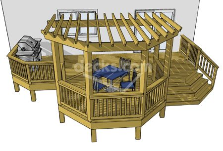 This is almost the same idea I came with up for our deck.  But we had a simple rectangle with the pergola area extending a few feet past edge & overlapping deck.