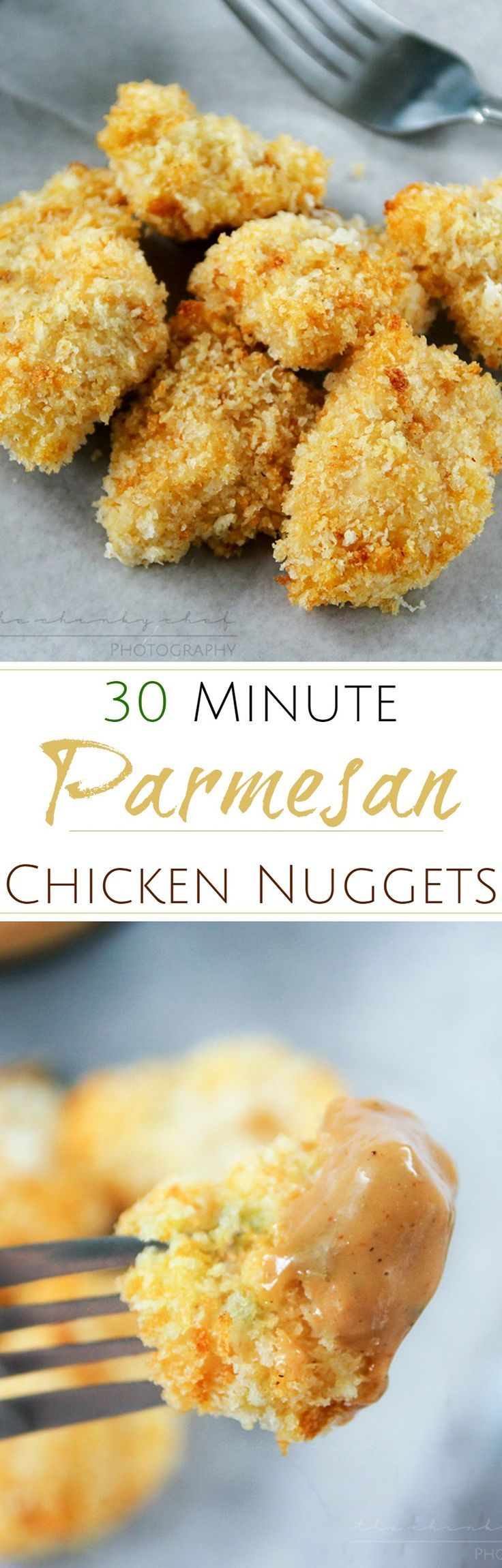 Parmesan Crusted Chicken Nuggets | The Chunky Chef | Amazingly crispy and flavorful baked Parmesan crusted chicken nuggets that both kids and adults will love! Ready in 30 minutes!