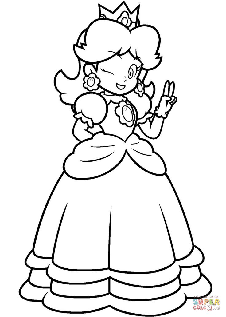 Mario Princess Daisy Coloring Page Free Printable