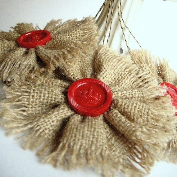 3 Rustic Burlap Ornaments with Vintage Red Checkers by MagiaMia