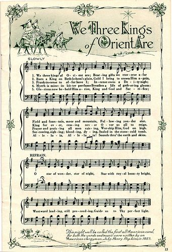 Bunches of sheet music on Flickr that I've printed & will cut to size (to print push the three dots on lower right side of window.. select size... original & then adjust % to fit your screen) and either use as wrapping paper addition or roll with ribbon for dining table sing-a-longs!