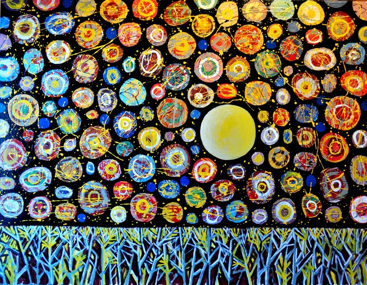 STARRY NIGHT VIEW, enamel on board, by Nicolaas Maritz. Available from the Maritz Studio Gallery, Darling, South Africa.  Enquiries: maritzstudio@telkomsa.net