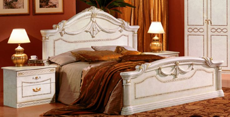 """Rossella Italian Traditional bed. Traditional Italian bed in beige color Dimensions: Queen size bed:  Headboard height 53""""  Width of the bed - 72"""" Length 83""""  King size bed:  Headboard height 53""""  Width of the bed - 87"""" Length 83""""  Double dresser W68"""" D19"""" H33""""  Mirror for double dresser W58"""" H42""""  Single dresser W50"""" D19"""" H33""""  Mirror for single dresser W40"""" H43""""  2 Door Armoire W40"""" D25"""" H 86 Color: Off-White Finish:  Glossy -"""