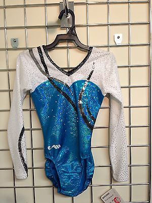 "CHRISTIAN MOREAU Turquoise/white Leotard With Crystals 28"" Sensational - Was £99"