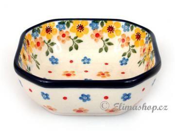 Spring pattern BOWL 10,5/10,5 cm . This Handmade Polish Pottery bowl is from ELIMAshop.cz . Boleslawiec . Bunzlau . ceramics . stoneware . spring design ( miska osmihranná malá 10,5/10,5 cm )