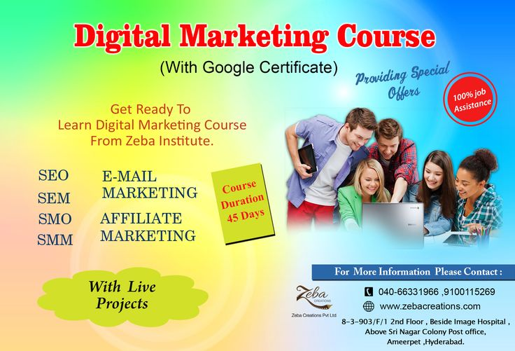 Are you Planning to Learn #DigitalMarketing Course, with Google Certification, #Zeba Institute Providing #Special Offer, 20%OFF on All #Courses, Hurry up!!...:) 100% job Assistance with Live Projects,and internship #certificate Also Provides by #Company for #Eligible Students. http://www.zebacreations.com/register.html
