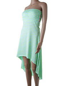 Krátke asymetrické letné šaty Italia Moda tyrkysové  Krátke ľahulinké tyrkysové šaty s neónovo zelenými pásikmi a dlhším zadným dielom. Vhodné k legínam. Šaty majú na prsiach vypchávky. Predný diel má dĺžku 69 cm.  http://www.yolo.sk/saty/kratke-asymetricke-letne-saty-italia-moda-modrozel