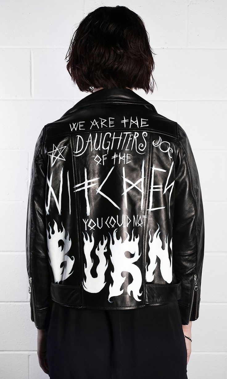 Burn Leather Jacket #disturbiaclothing disturbia hand painted witch daughters metal silver alien goth occult grunge alternative punk