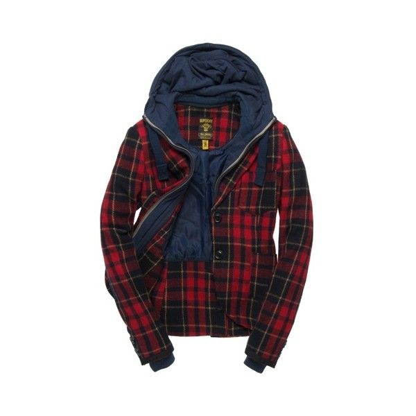 Superdry Woody Blazer ($250) ❤ liked on Polyvore featuring outerwear, jackets, blazers, tops, superdry jacket, plaid jacket, button jacket, superdry and blazer jacket