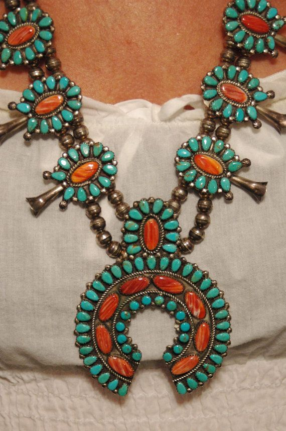 Vintage Turquoise and Spiney Oyster Squash Blossom by navajodreams, $2840.00