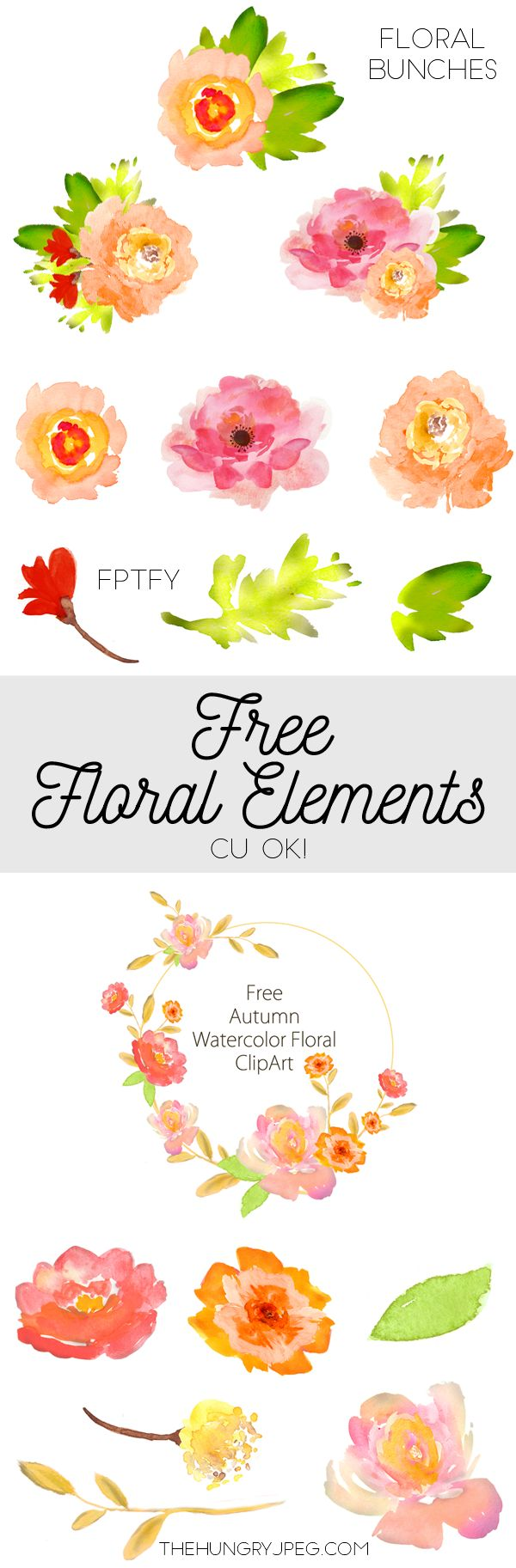 Free Watercolor Floral Elements- Pretty! - Free Pretty Things For You