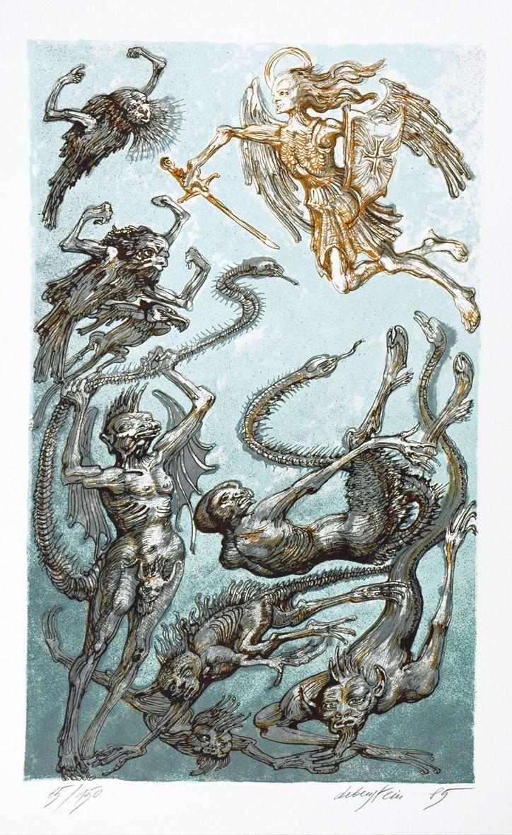 "Jan Lebenstein, Ilustración de ""Apocalipsis"". Litografía color sobre papel, 50 x 30 cm., 1985 | Neofiguracionismo"