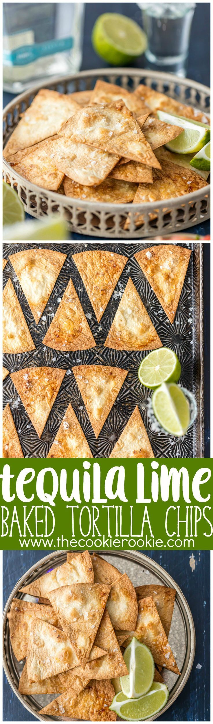 Tequila Lime BAKED Tortilla Chips - Simple healthy chip recipe that's made in minutes at home with soft flour tortillas. THE FLAVOR IS AMAZING! Best homemade chip recipe ever!