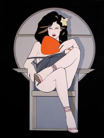 Patrick Nagel Original Woman with Fan