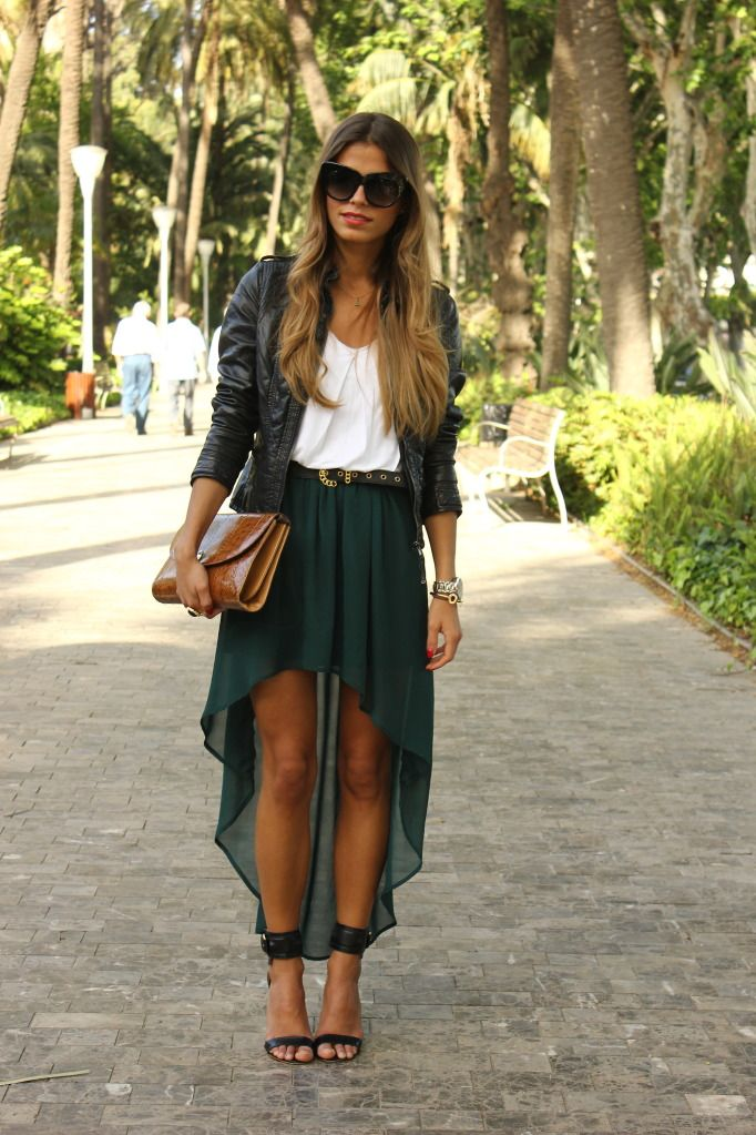 love this look, gonna experiment my style with this kind of look!: Shoes, Green Skirts, High Low Skirts, Highlow, Color, Outfit, Long Skirts, Leather Jackets, Hi Low Skirts