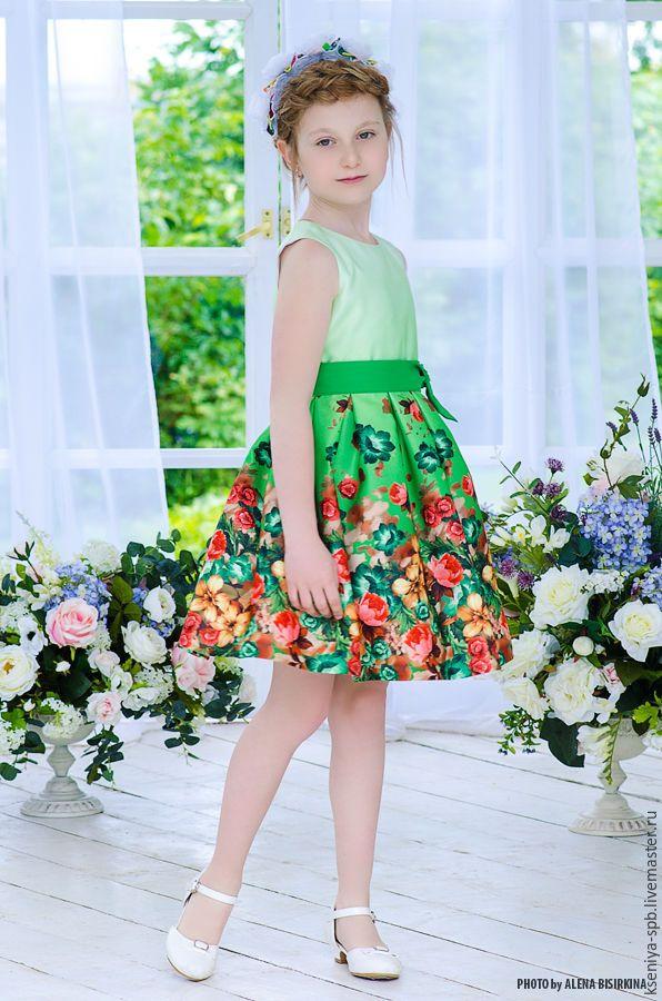 """Купить Нарядное платье для девочки, яркое """"Цветочек"""" - платье с цветами, яркое нарядное платье"""