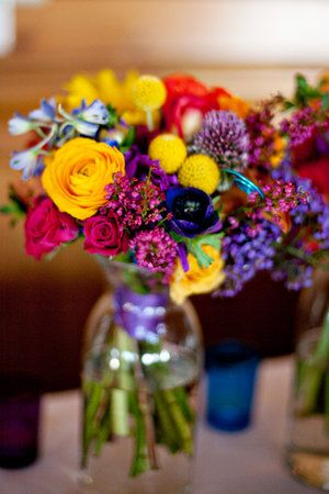 Flowers, Reception, Pink, Green, Purple, Ceremony, Blue, Red, Orange, Inspiration board