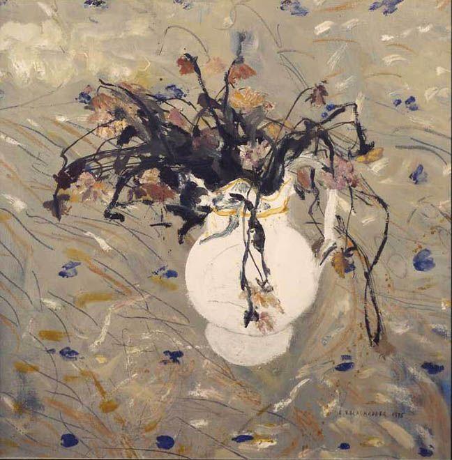 ELIZABETH VIOLET BLACKADDER - Flowers, Oil on canvas.
