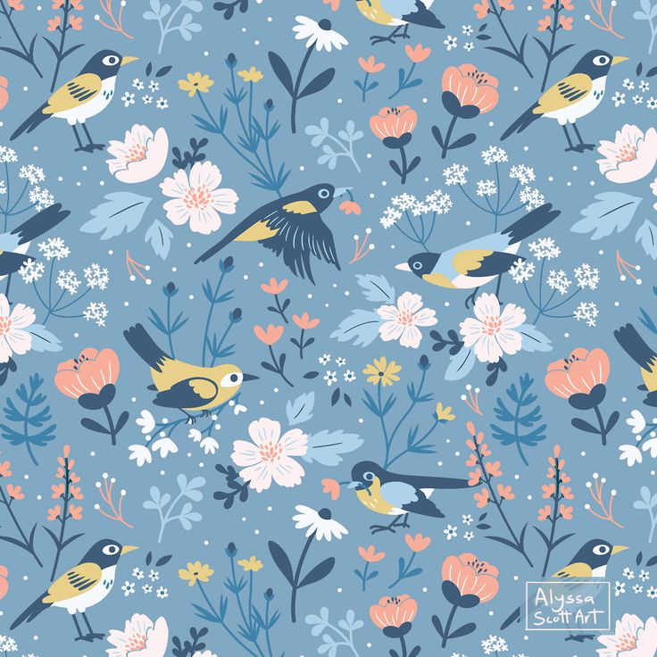 Alyssa Scott Illustration — Birds & Blooms Pattern – with a little added...