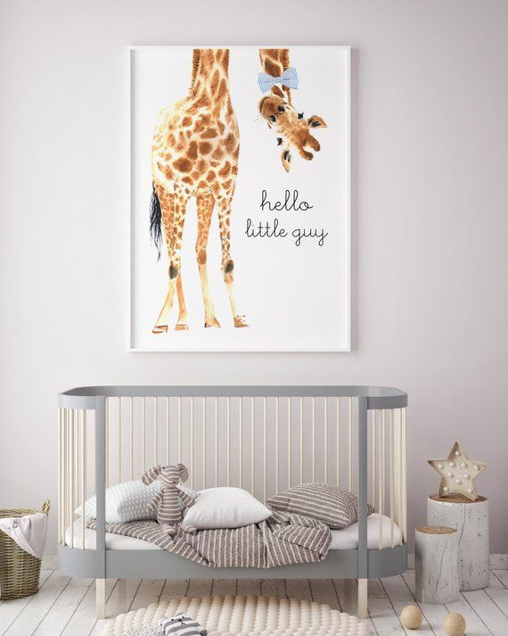 Hello Little Guy Bow Tie Giraffe Print Giraffe Art