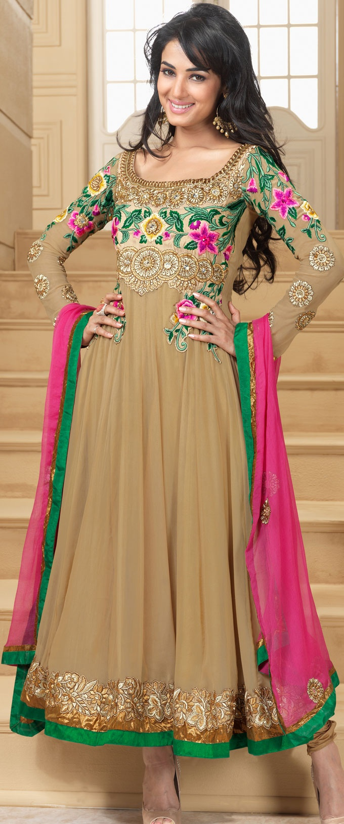 #Beige Faux Georgette #Churidar Anarkali #Suit | @ $133.92