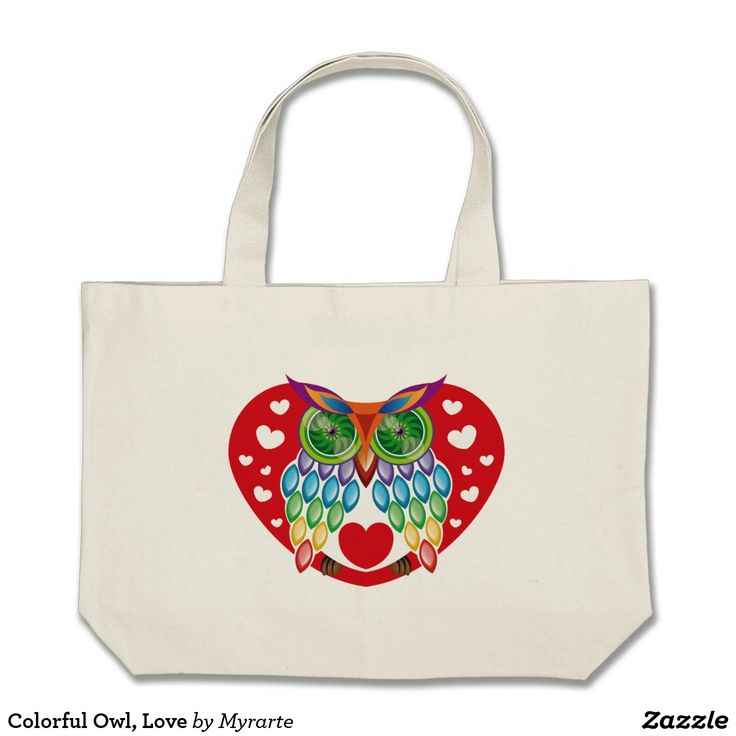Colorful Owl, Love. Producto disponible en tienda Zazzle. Accesorios, moda. Product available in Zazzle store. Fashion Accessories. Regalos, Gifts. #bolso #bag