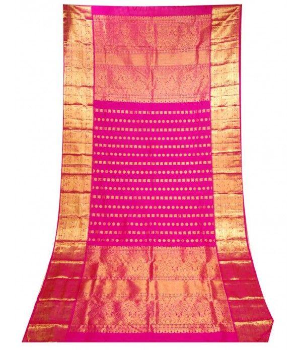 Pink Pure Handloom Kanjeevaram Silk Dupatta