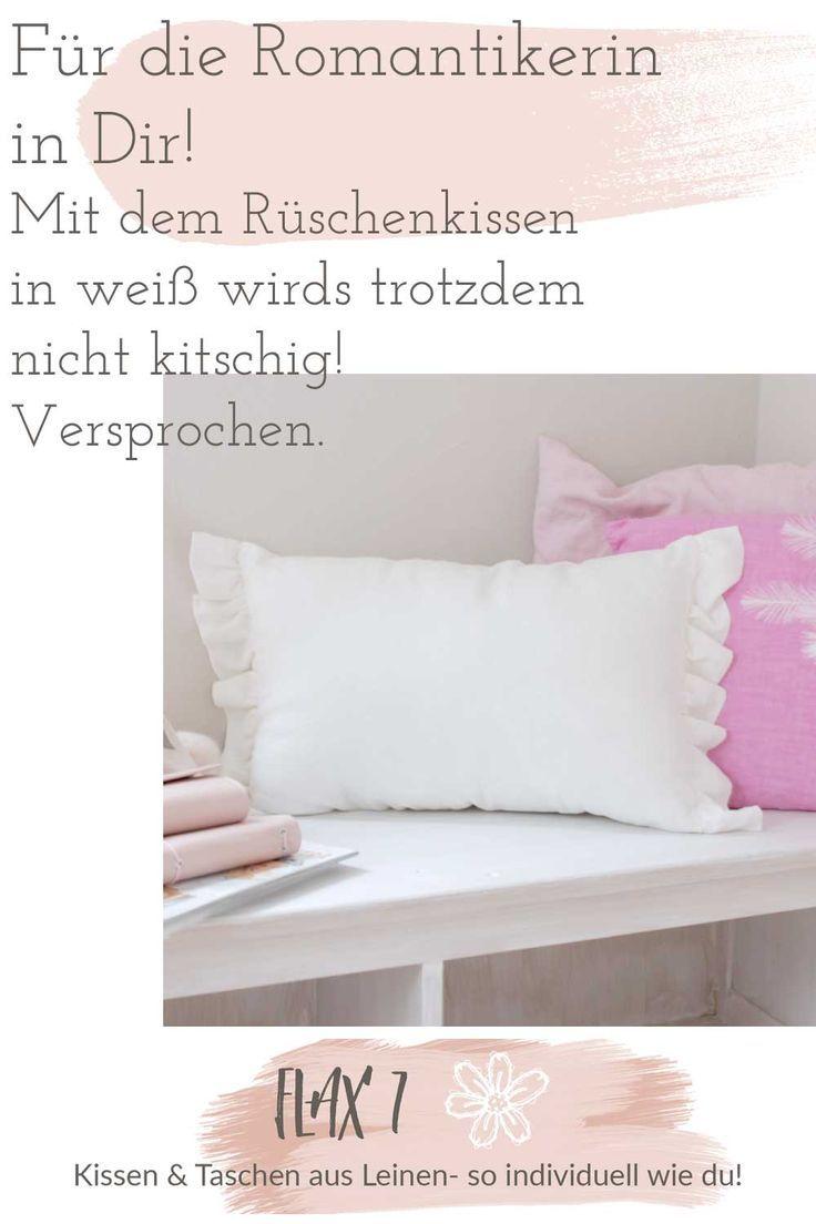 Kissen Weiß Mit Rüschen 30x50cm Aus Leinen In 2019 Bettwäsche Aus