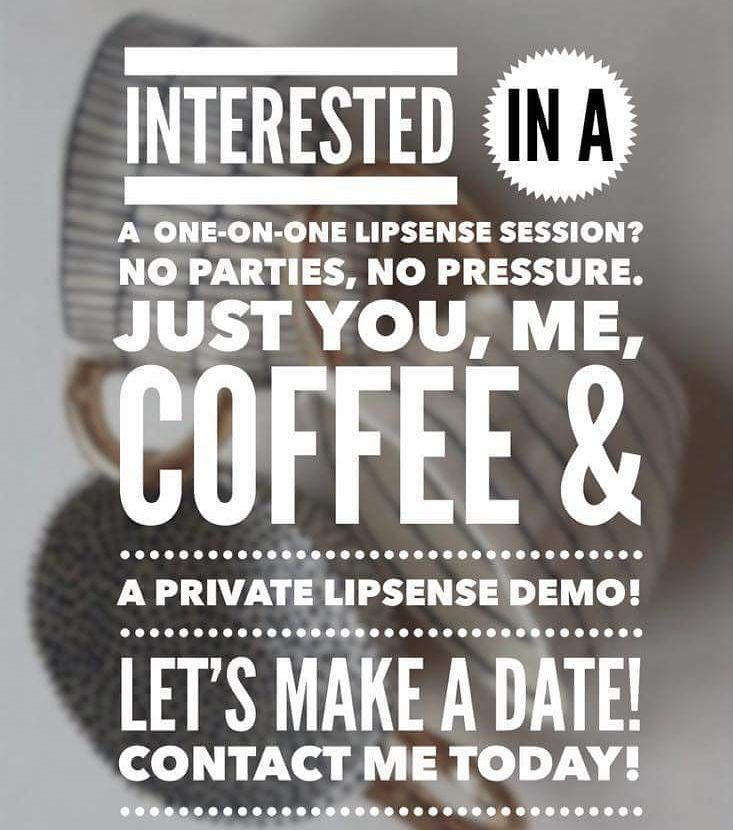 Coffee, meeting new people, and talking about LipSense? Three of my favorite things! Message via Pinterest or Facebook: https://www.facebook.com/radiant.and.ready/ I respond to everyone! Distributor #473970