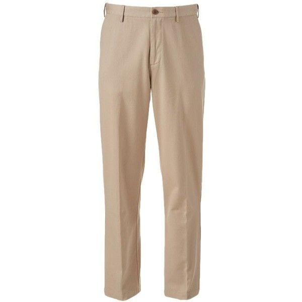 Men's Croft & Barrow® Classic-Fit Essential Khaki Flat-Front Pants ($25) ❤ liked on Polyvore featuring men's fashion, men's clothing, men's pants, men's dress pants, khaki, mens khaki pants, mens zip off pants, mens flat front dress pants, mens cotton pants and mens print pants
