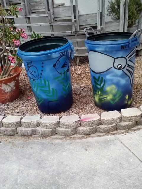 17 Best Ideas About Painted Trash Cans On Pinterest