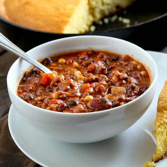 This healthy spin on turkey and veggie chili is rich and flavorful with the perfect balance of sweet corn, spicy heat, and fresh vegetables.