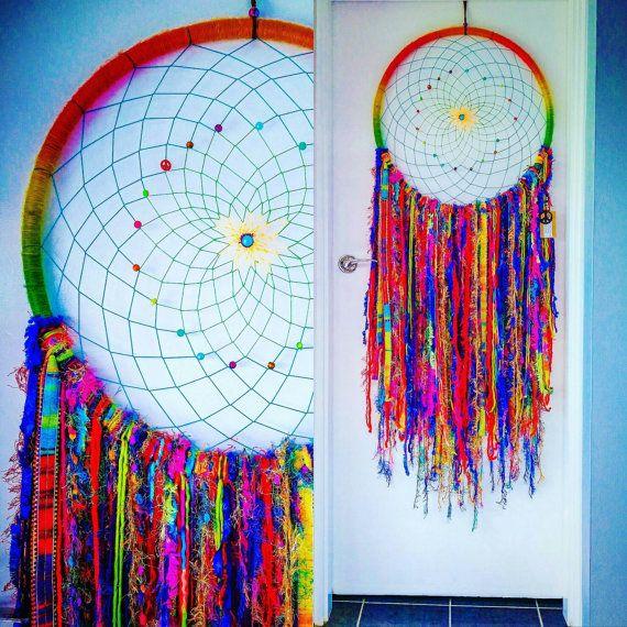 Made to order...MASSIVE Rainbow Carnival   Gypsy Dream Catcher dreamcatcher boho hippy hippie