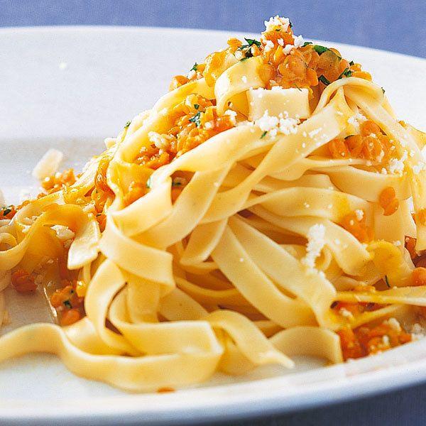 Nudeln mit Linsencreme - super zum Vorkochen für die Arbeit und passt besonders gut zu Vollkornnudeln