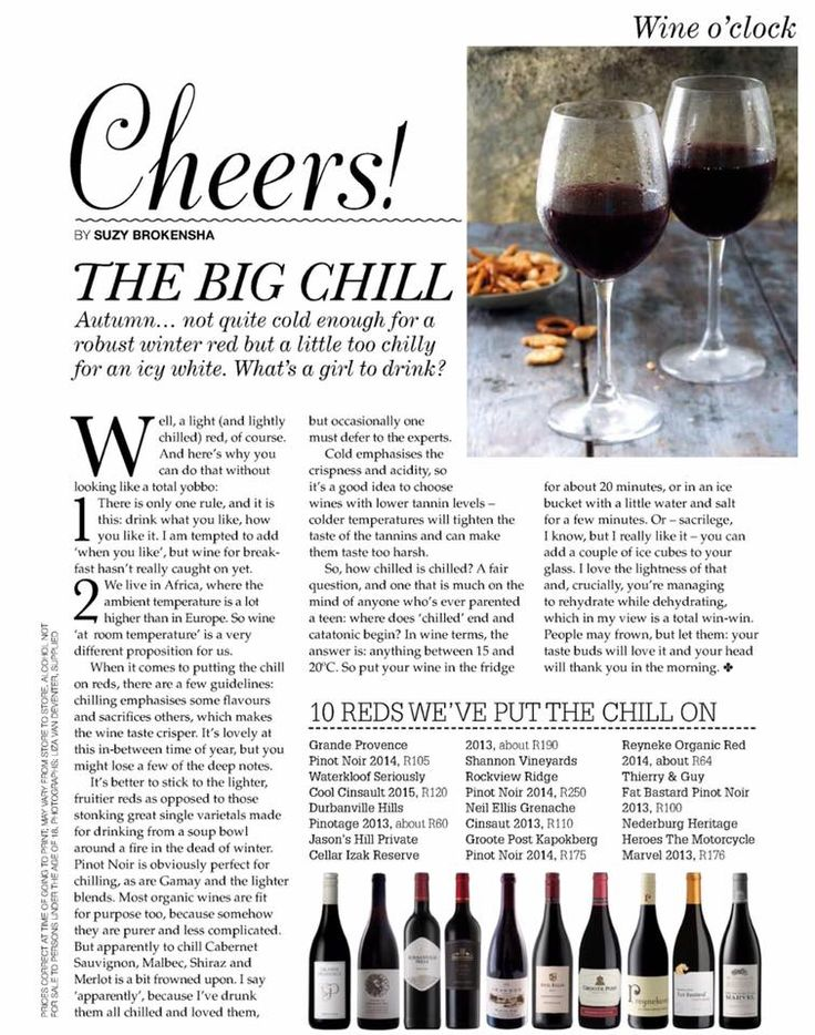 The big chill! Our GP 2014 Pinot Noir featuring in the May copy of Fairlady Magazine