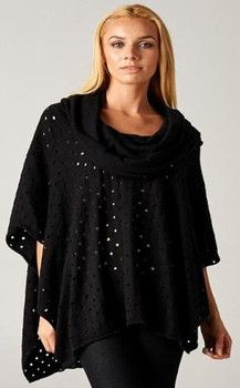 All Over Holes Black Poncho - Winter 2015 Collection - LOVE STITCH #lovestitch