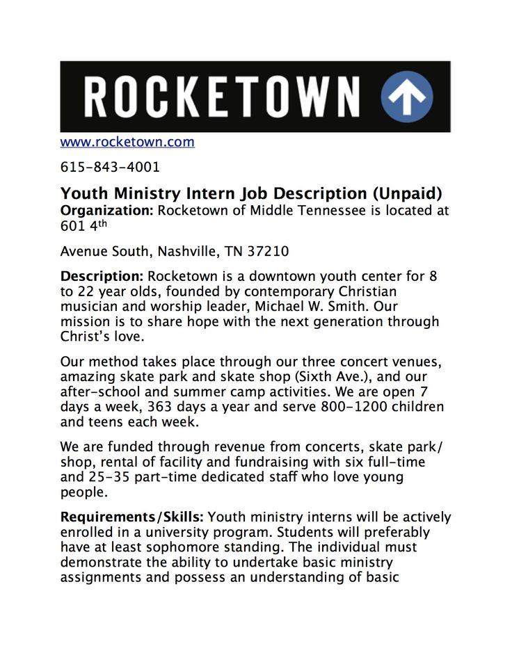 Summer Intern Job Description Student ministry