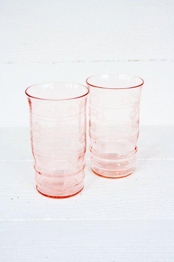 Vintage Etched Floral Pink Depression Glass Juice Glasses Set Of Two Pink Floral And Depression